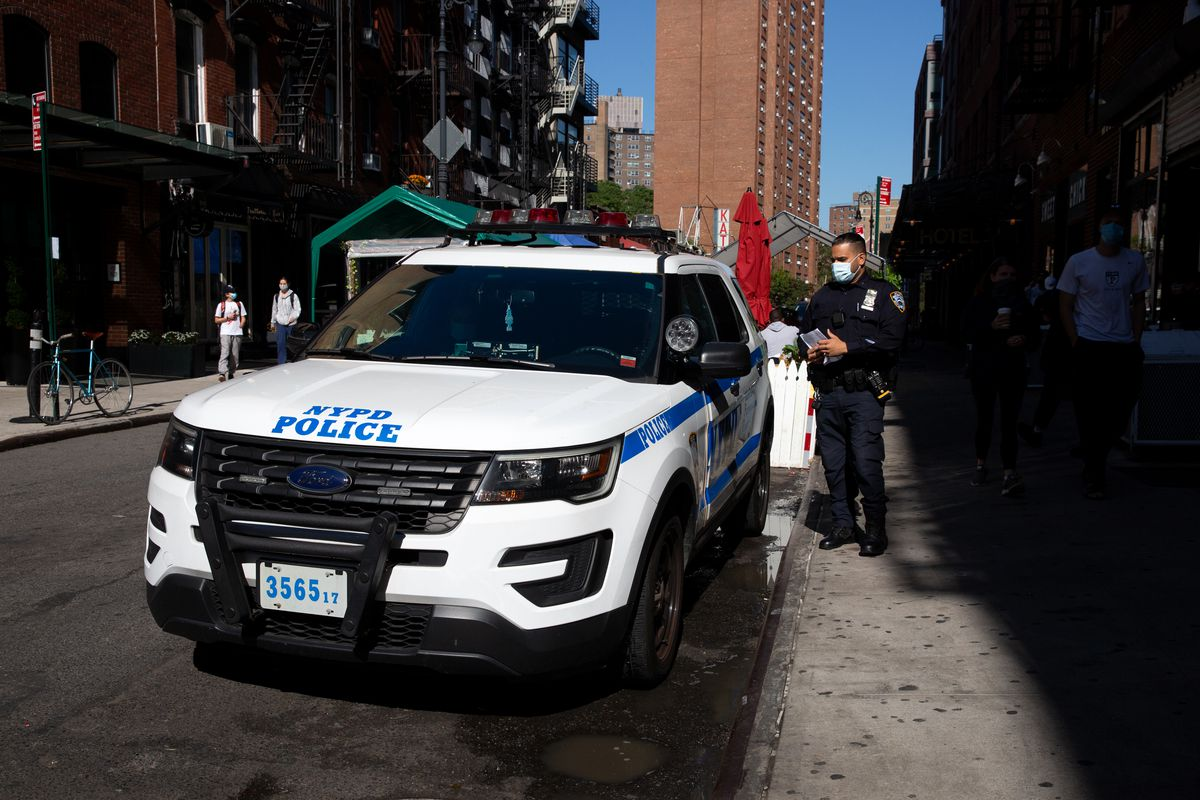 NYPD officers patrol the Lower East Side, Oct. 14, 2020.