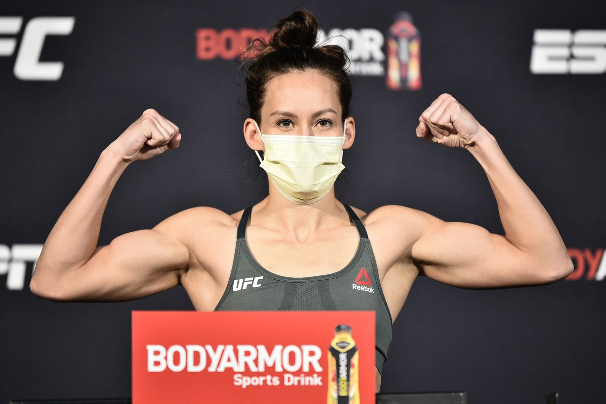 Jinh Yu Frey poses on the scale during the UFC weigh-in at UFC APEX on June 26, 2020 in Las Vegas, Nevada.