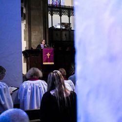 Associate Pastor Rev. Niki Atkinson speaks during Palm Sunday service at First Presbyterian Church in Greensburg, Pa., on Sunday, April 9, 2017.