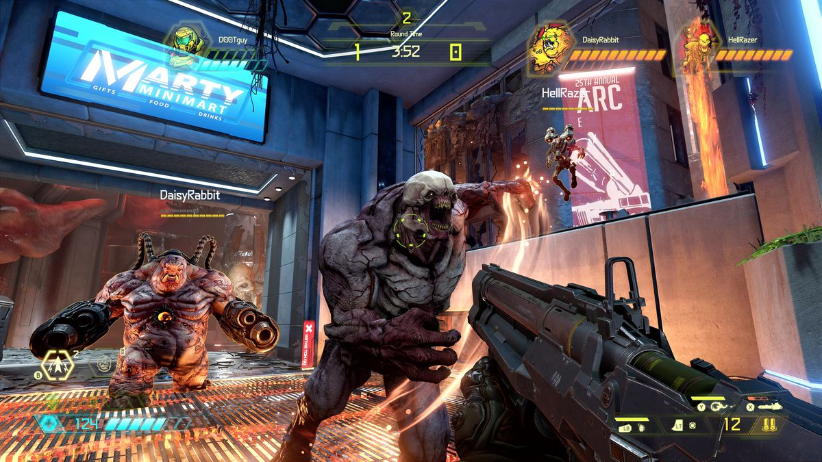 A first-person view of a gun pointed at a pair of demons from Doom Eternal's multiplayer mode