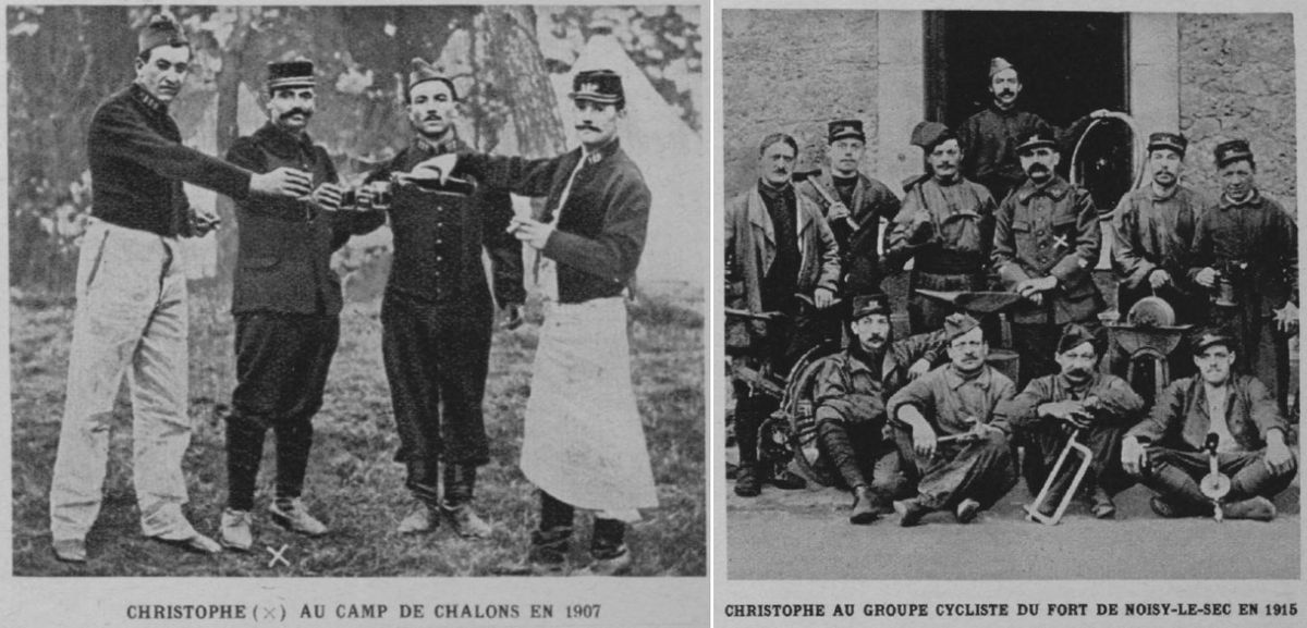 Christophe doing his compulsory military service in 1907, and during the war in Fort de Noisy, Paris, 1915
