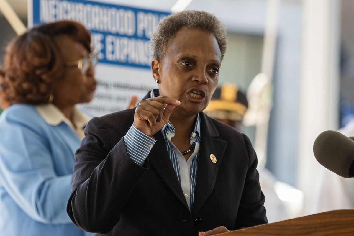 Chicago Mayor Lori Lightfoot speaks during a press conference at the 10th District Police Station in Lawndale Thursday morning, Aug. 20, 2020. Lightfoot and Chicago Police Supt. David Brown announced the expansion of the neighborhood policing initiative, which they claim will improve relationships between police and residents by allowing them to directly call their district coordination officers instead of calling 911.