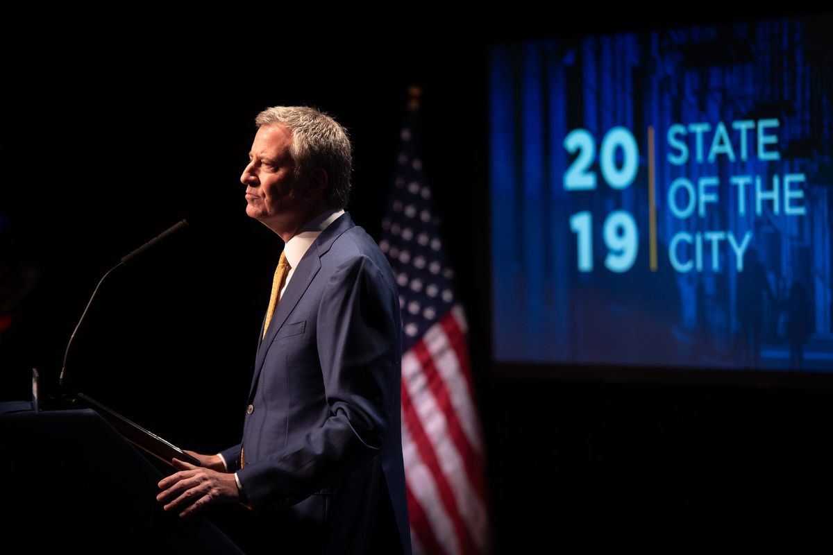 Mayor Bill de Blasio delivers his sixth State of the City address at the Symphony Space in Manhattan on Thursday