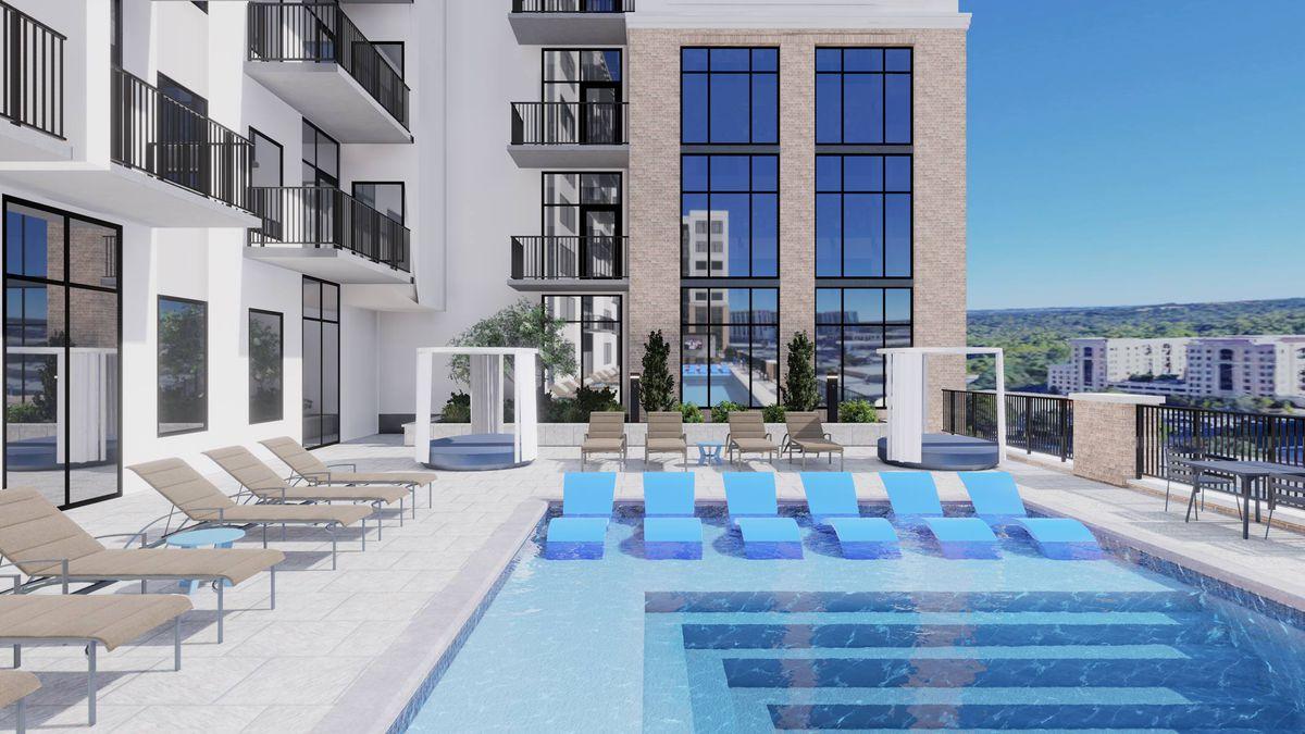 A pool area in a nice neighborhood in renderings.