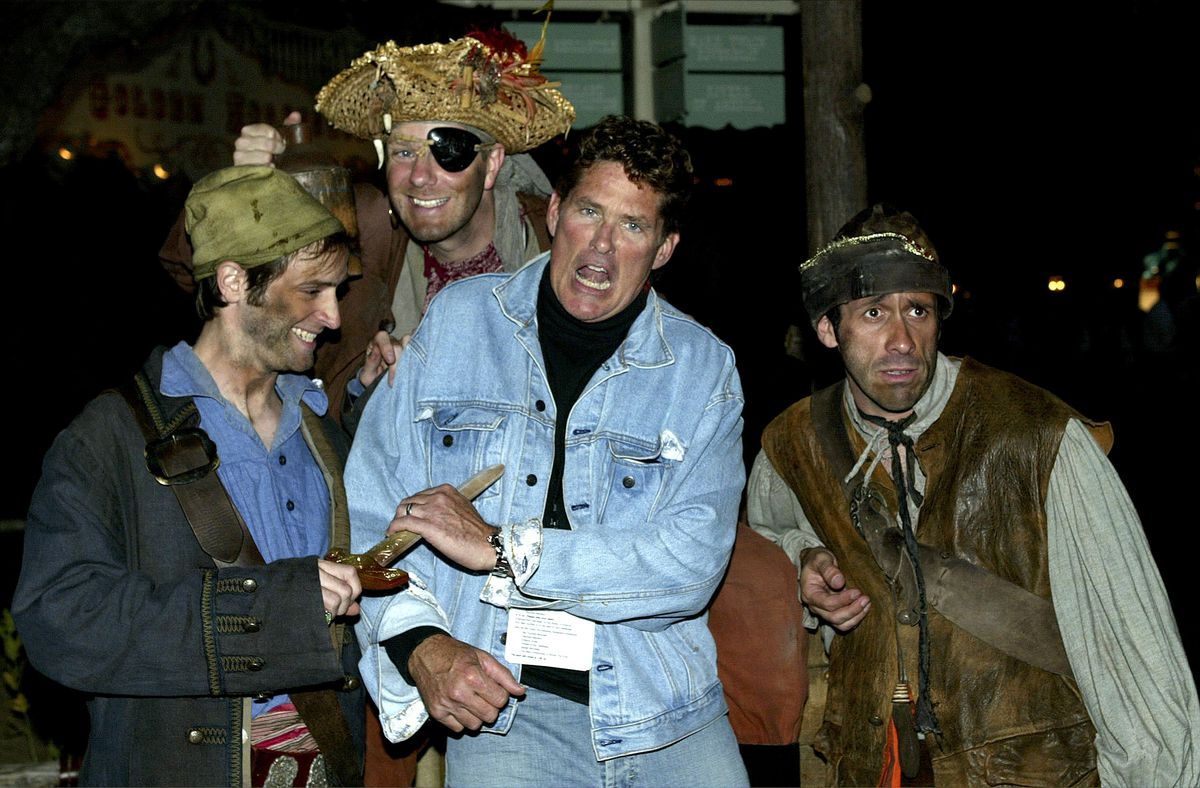 David Hasselhoff and Walt Disney characters attend the film premiere of Pirates of the Caribbean