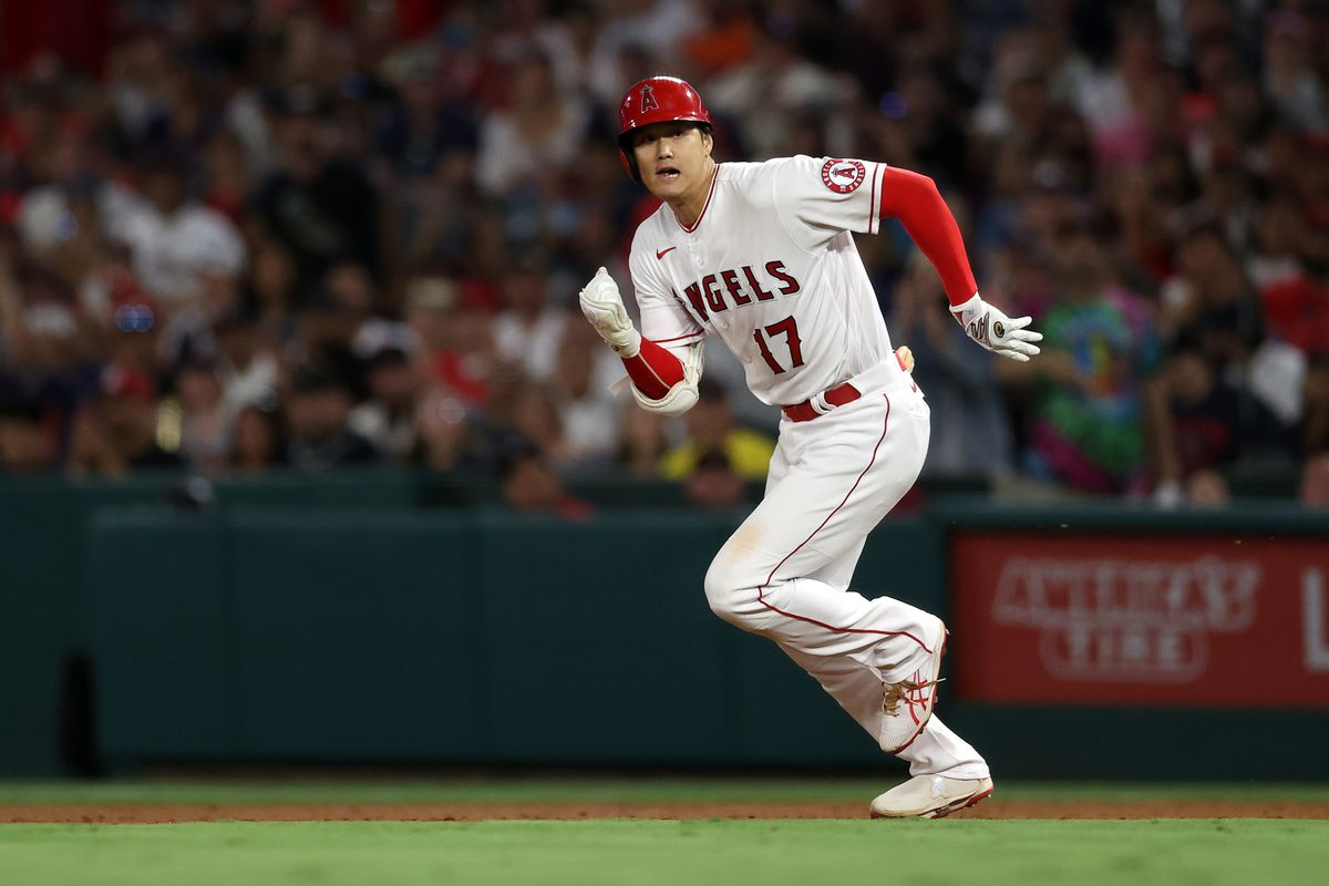 Shohei Ohtani #17 of the Los Angeles Angels runs to second base against the Boston Red Sox in the fifth inning at Angel Stadium of Anaheim on July 05, 2021 in Anaheim, California.