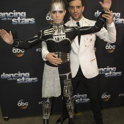 """Violinist Lindsey Stirling and dance pro Mark Ballas prepare to dance an Argentine tango with a sci-fi theme during """"A Night at the Movies"""" theme night on """"Dancing with the Stars"""" on Monday, Oct. 23."""