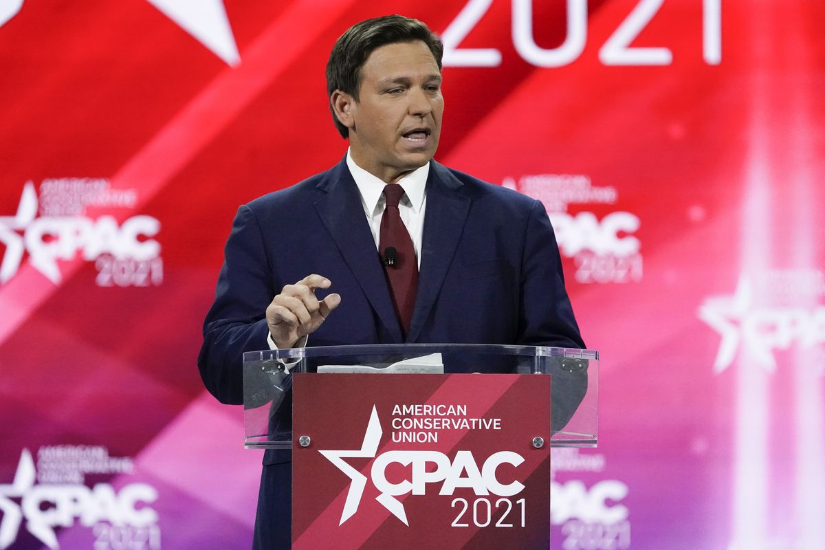 Potential 2024 presidential candidate and Florida governor Ron DeSantis, speaks at the Conservative Political Action Convention in Florida.