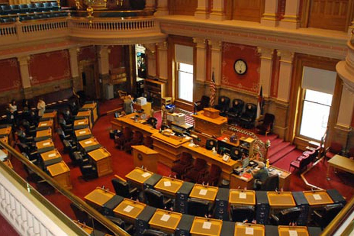 Colorado Senate Chamber, redecorated and restored for 2015 session.