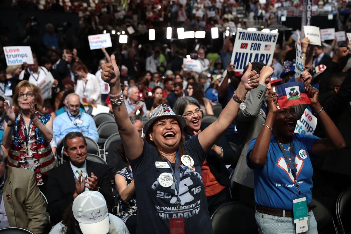 Delegate Leonarda Duran and others at the 2016 Democratic National Convention in Philadelphia.