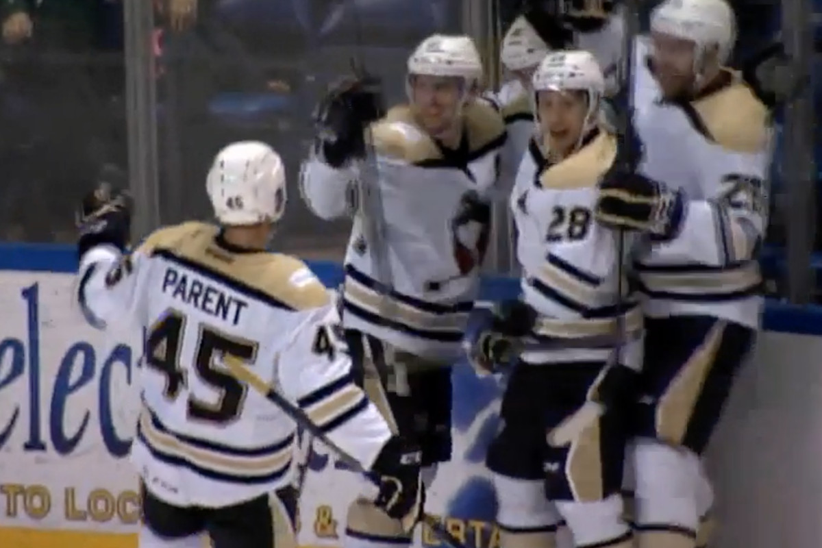WBS Penguins celebrate the first goal before it was overturned