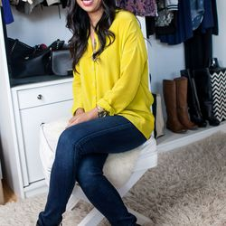 """<b>Esther Kang, Apparel Merchant</b>, wearing a Bella Luxx top, Rag & Bone jeans and boots, and an Avant Garde necklace. <br> <b>What fashion rule do you shamelessly break?</b>  <br> """"Wearing white after labor day. I definitely don't think this rule a"""