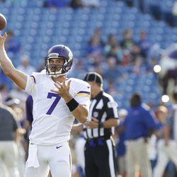 Aug 16, 2013; Orchard Park, NY, USA; Minnesota Vikings quarterback Christian Ponder (7) passing the ball before the game against the Buffalo Bills at Ralph Wilson Stadium.
