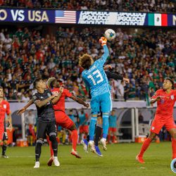 July 7, 2019 - Chicago, Illinois, United States - Mexico goalkeeper Guillermo Ochoa (13) punches the ball during the Gold Cup Final at Soldier Field.