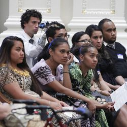 """Attendees listen at the Pacific Islander conference """"Navigating the Future"""" sponsored by the Deseret News as a forum for different issues for Polynesians at the Joseph Smith Building Wednesday, Sept. 21, 2011, Salt Lake City, Utah."""