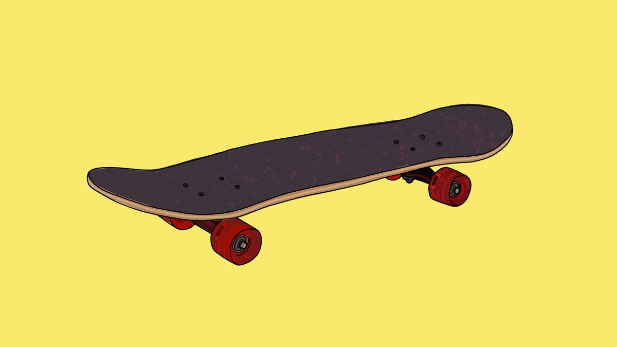 A drawing of a skateboard against a yellow background.