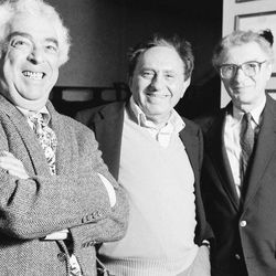 """The creators of """"Fiddler on the Roof,"""" composer Jerry Bock, left, writer Joseph Stein and lyricist Sheldon Harnick, are reunited at the George Gershwin Theater in New York on Nov. 5, 1990, after many years."""