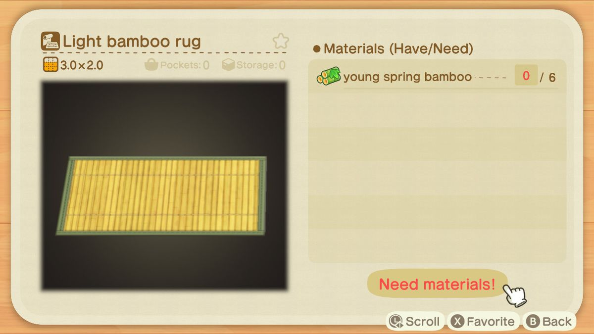 An Animal Crossing crafting screen for a Light Bamboo Rug