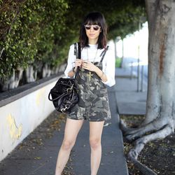 """Rachel of  <a href=""""http://www.thatschic.net/"""">That's Chic</a> is wearing a Miu Miu top, Supermuse overalls, Phillip Lim shoes and a <a href=""""http://www.bluefly.com/rebecca-minkoff-dark-brown-leather-mab-mini-shoulder-bag/PRODUCT_FEED/321462302/detail.fly"""