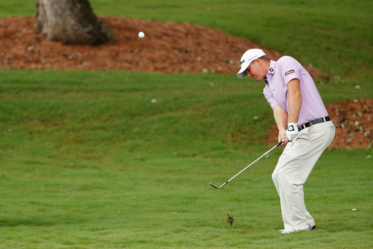 Tom Hoge of the United States plays a shot on the fifth hole during the second round of the Wyndham Championship at Sedgefield Country Club on August 14, 2020 in Greensboro, North Carolina.
