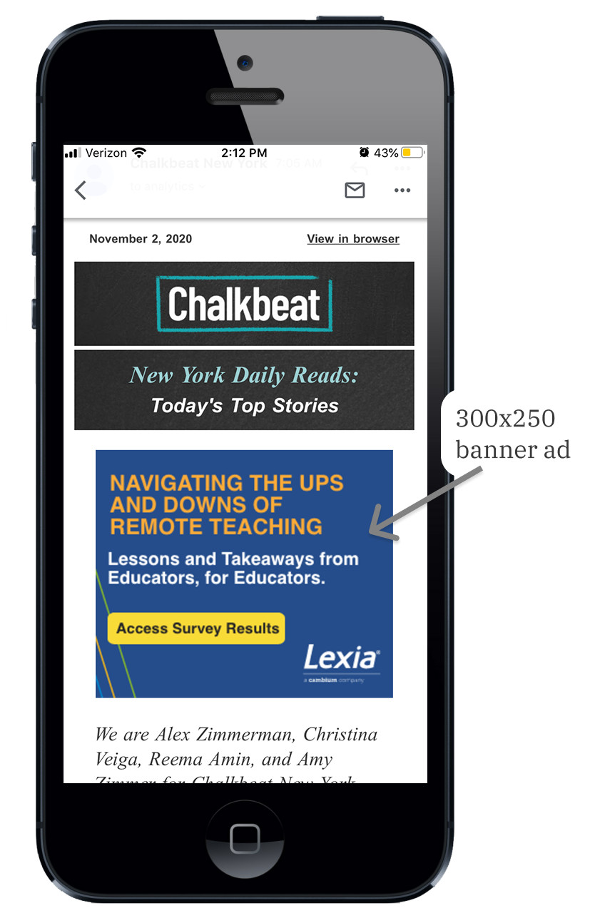 Screenshot of a Chalkbeat New York newsletter on a mobile device.