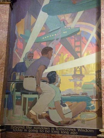 The last panel in Allen True Capitol water murals looks to the future, at least as envisioned in 1940.