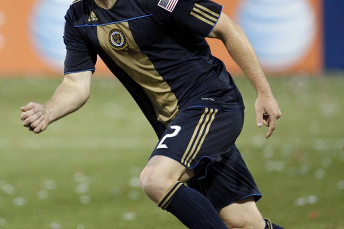 TORONTO - APRIL 15: Jordan Harvey #2 of the Philadelphia Union celebrates his goal against Toronto FC during action at BMO Field April 15, 2010 in Toronto, Ontario, Canada. (Photo by Abelimages/Getty Images)