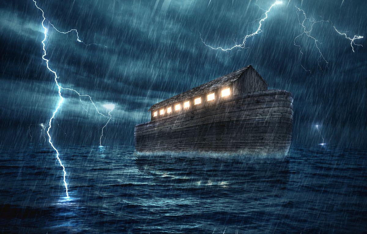 Noah's ark on the flood waters as lightning strikes around.