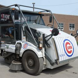 The city's Cubs themed street sweeper is back on the street -
