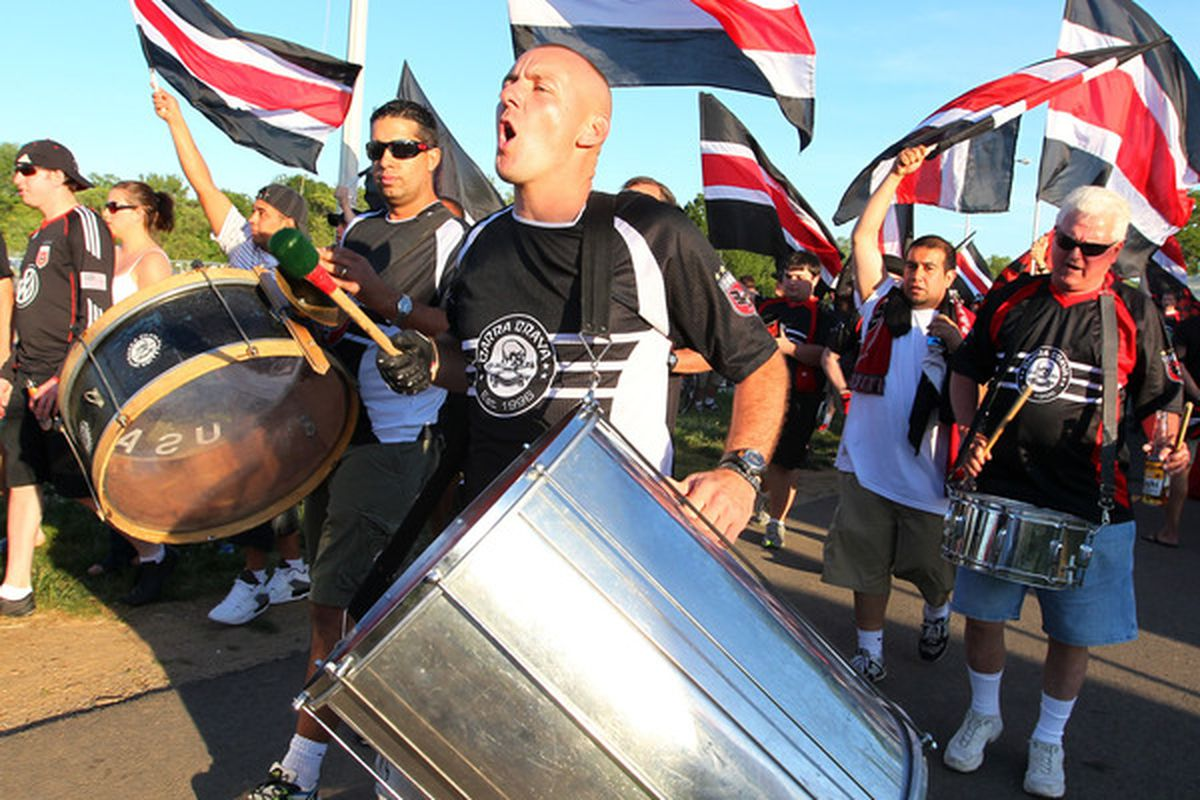 WASHINGTON - MAY 5: Members of the Barra Brava supporter club of D.C. United march towards the stadium prior to game against the Colorado Rapids at RFK Stadium on May 5, 2010 in Washington, DC. (Photo by Ned Dishman/Getty Images)