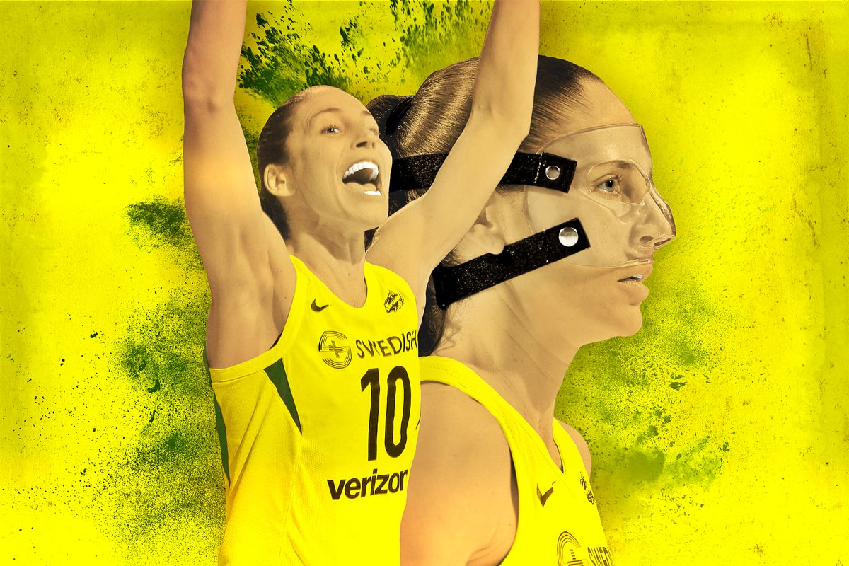 Sue Bird cheering with another image of her wearing a face mask