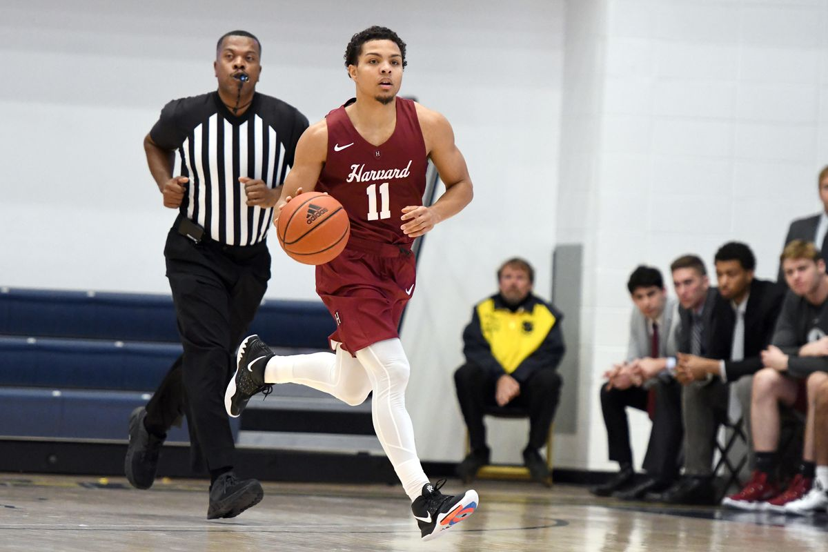 Bryce Aiken of the Harvard Crimson dribbles up court during a college basketball game against the George Washington Colonials at the Smith Center on December 21, 2019 in Washington, DC.