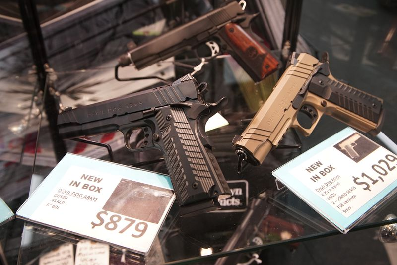 Some of the firearms on display at Marengo Guns in Marengo in January.