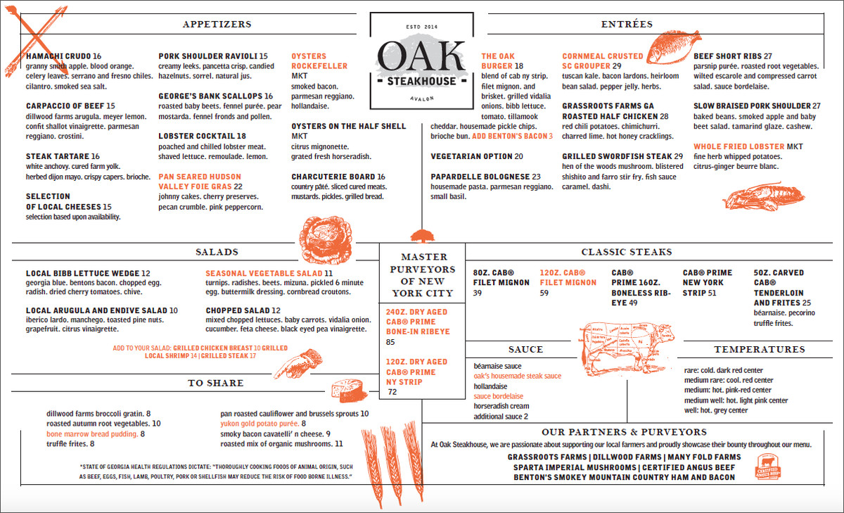 Oak Steakhouse Menu