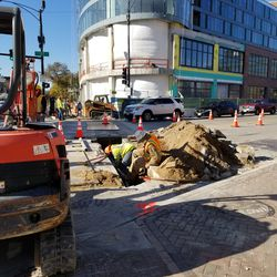 Excavation at the corner of Clark & Addison