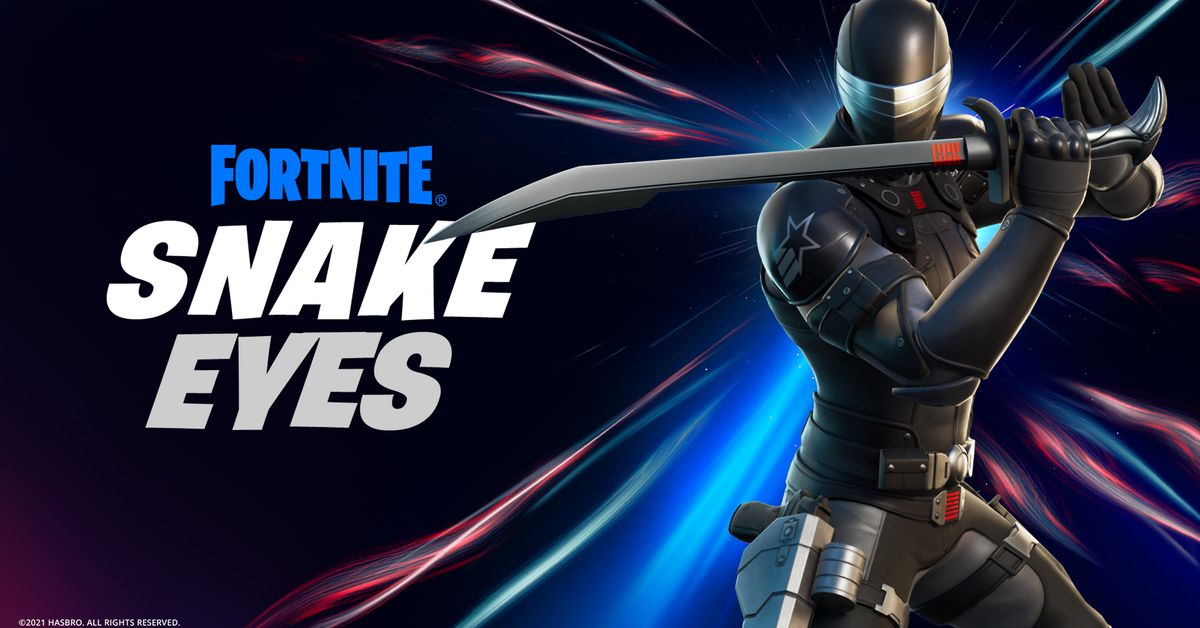 G.I. Joe's Fortnite collaboration includes a Snake Eyes skin and action figure