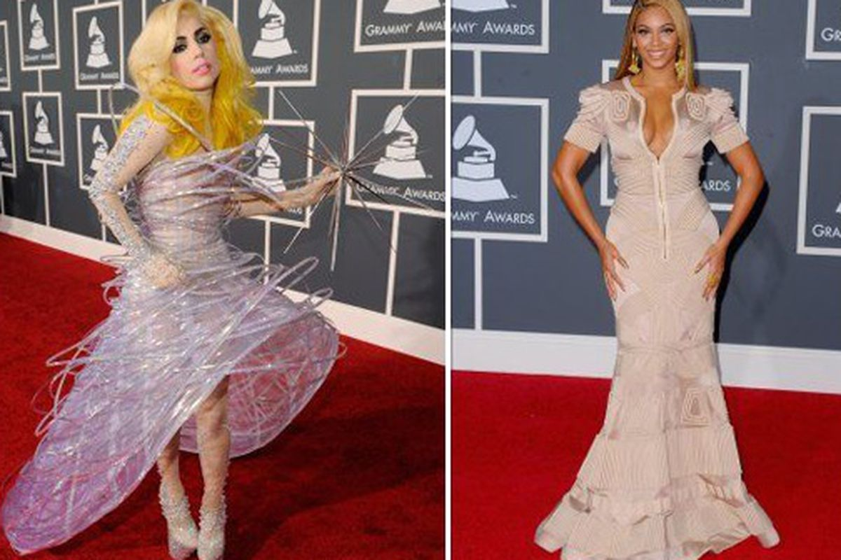 """Lady Gaga and Beyonce at the Grammys via HuffPo's <a href=""""http://www.huffingtonpost.com/2010/02/01/grammys-2010-worst-dresse_n_443958.html"""">worst-dressed</a> list. Thoughts?"""