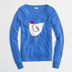 """<a href=""""http://factory.jcrew.com/womens-clothing/sweaters/merino/PRDOVR~02102/02102.jsp"""">Intarsia Hen Sweater</a>, $61.50 at J.Crew Factory (which btw, is <a href=""""http://philly.racked.com/archives/2013/09/03/jcrew-factory-coming-to-the-plymouth-meeting-"""