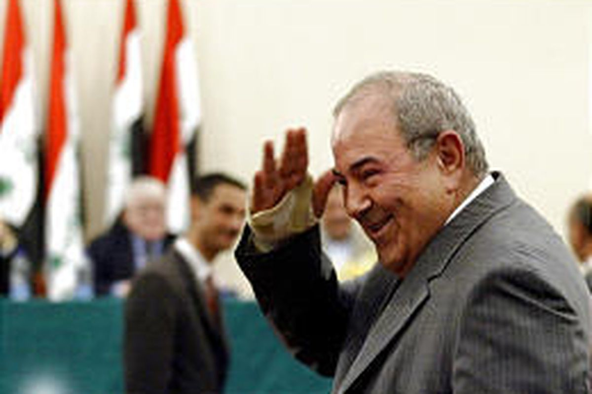 Prime Minister Ayad Allawi salutes Iraqi lawmakers. His words about insurgents seemed more grim than his Washington statements.