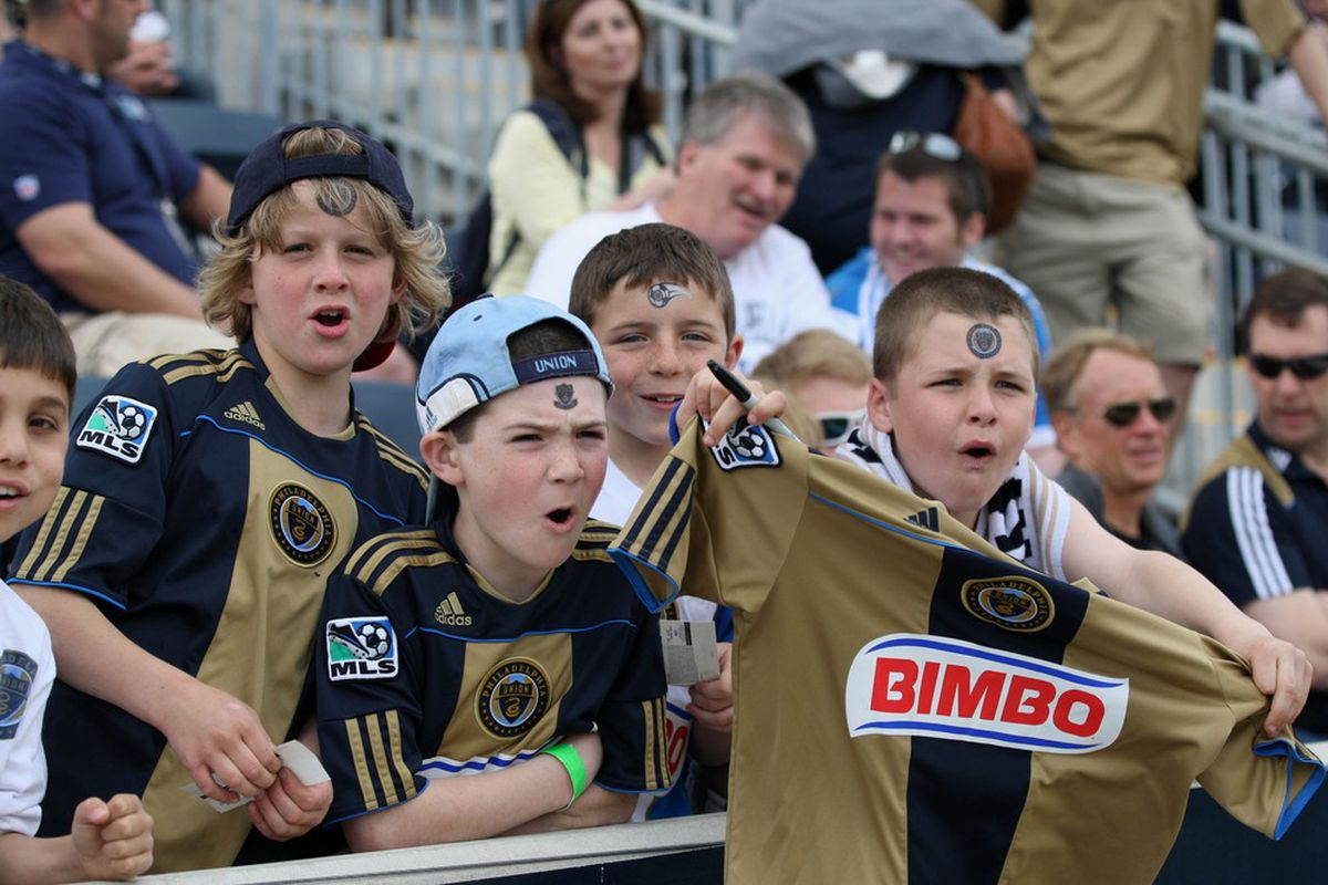 April 14, 2012; Philadelphia, PA, USA; Philadelphia Union fans cheer before the game against the Columbus Crew at PPL Park. Mandatory Credit: Rob Christy-US PRESSWIRE