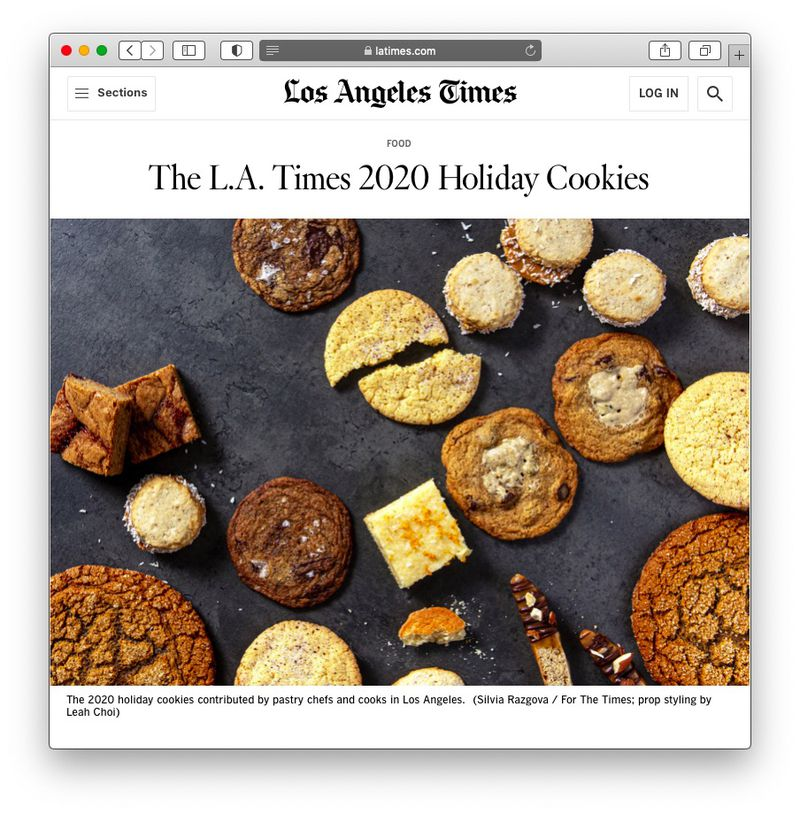 Screenshot of the LA Times cookie article.