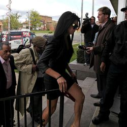 Former Miss USA Rima Fakih arrives for her drunken driving case at 30th District Court in Highland Park, Mich., on Wednesday, April, 11, 2012.  A trial had been planned before 30th District Court Judge Brigette Officer on the original charges of drunken driving, careless driving and having an open container of alcohol, all misdemeanors. Fakih pleaded no contest.