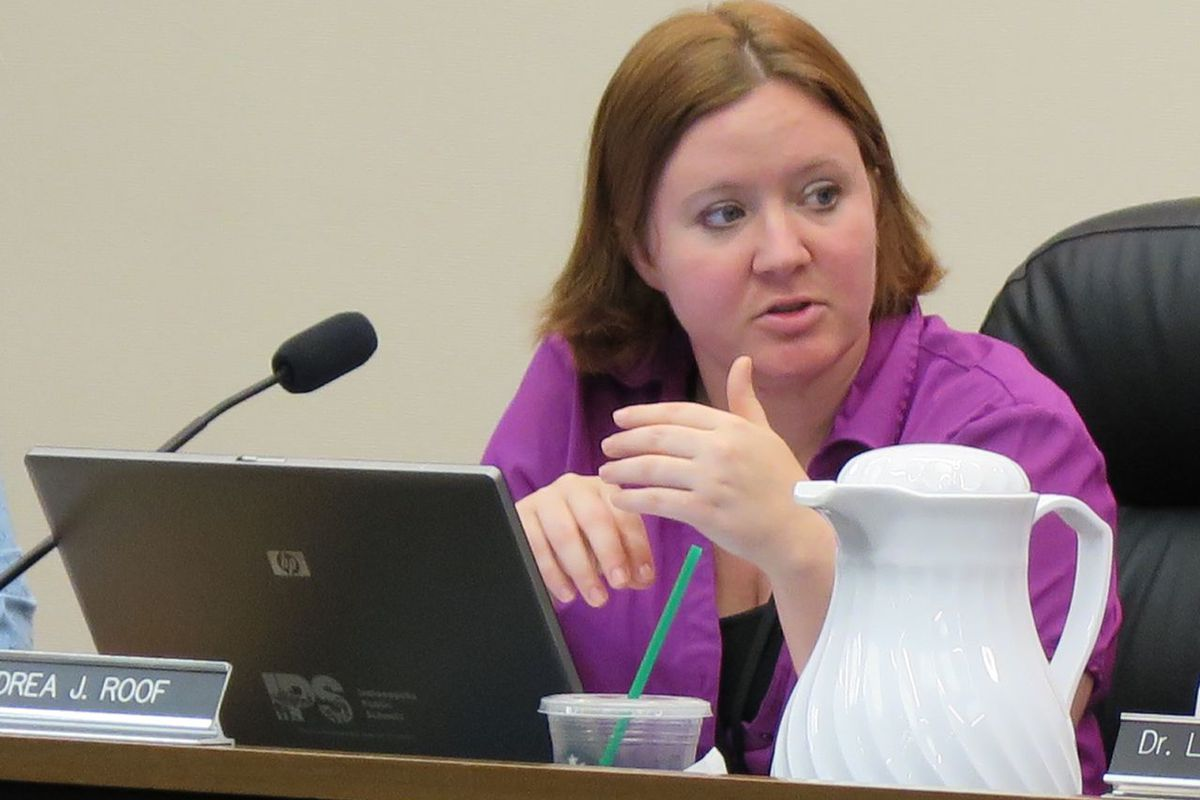 Former IPS school board President Annie Roof, pictured at a meeting last year, will not interview for an open board seat.