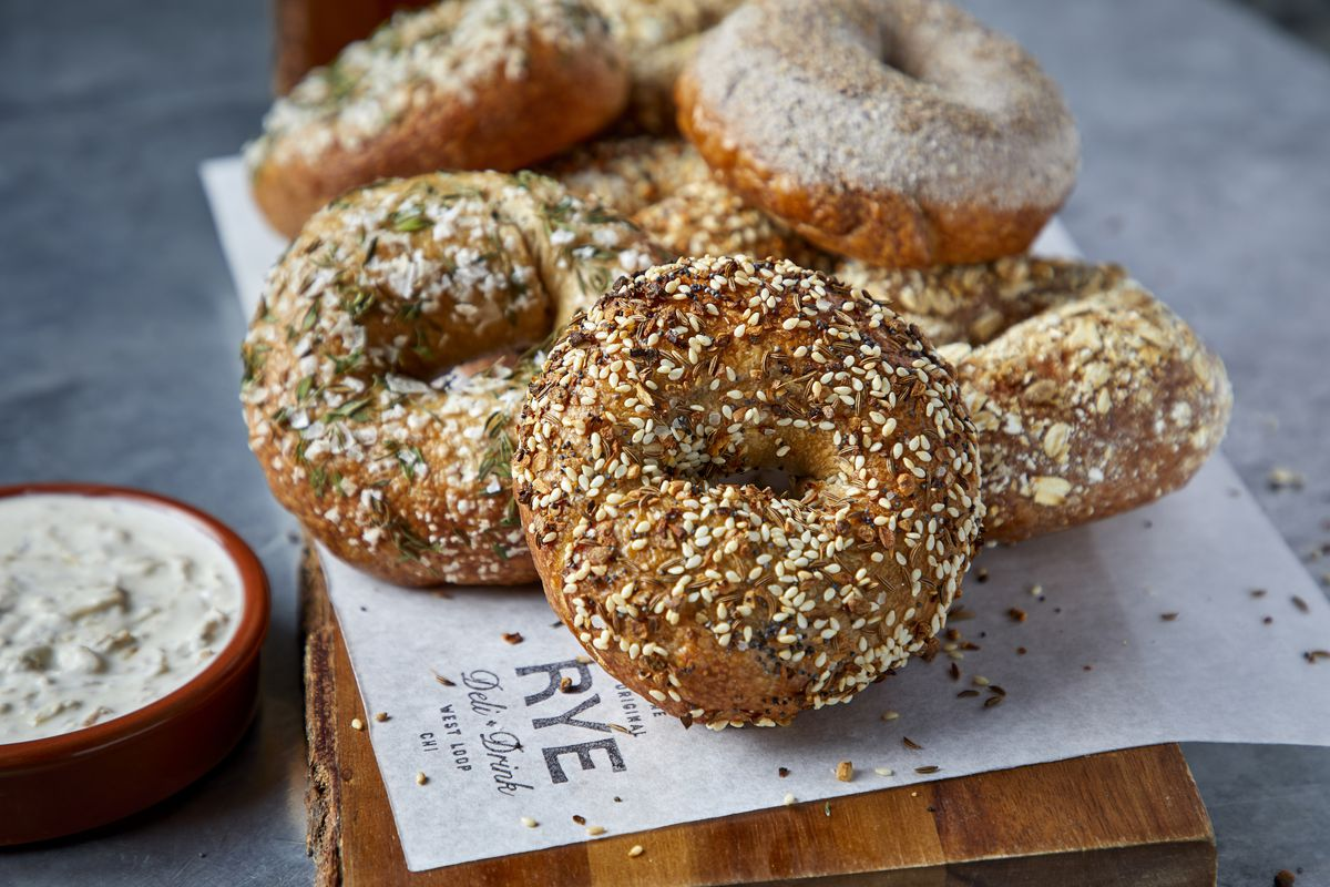 A pile of bagels