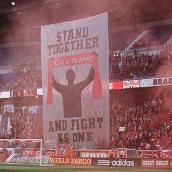 The South Ward raises its first tifo of 2017
