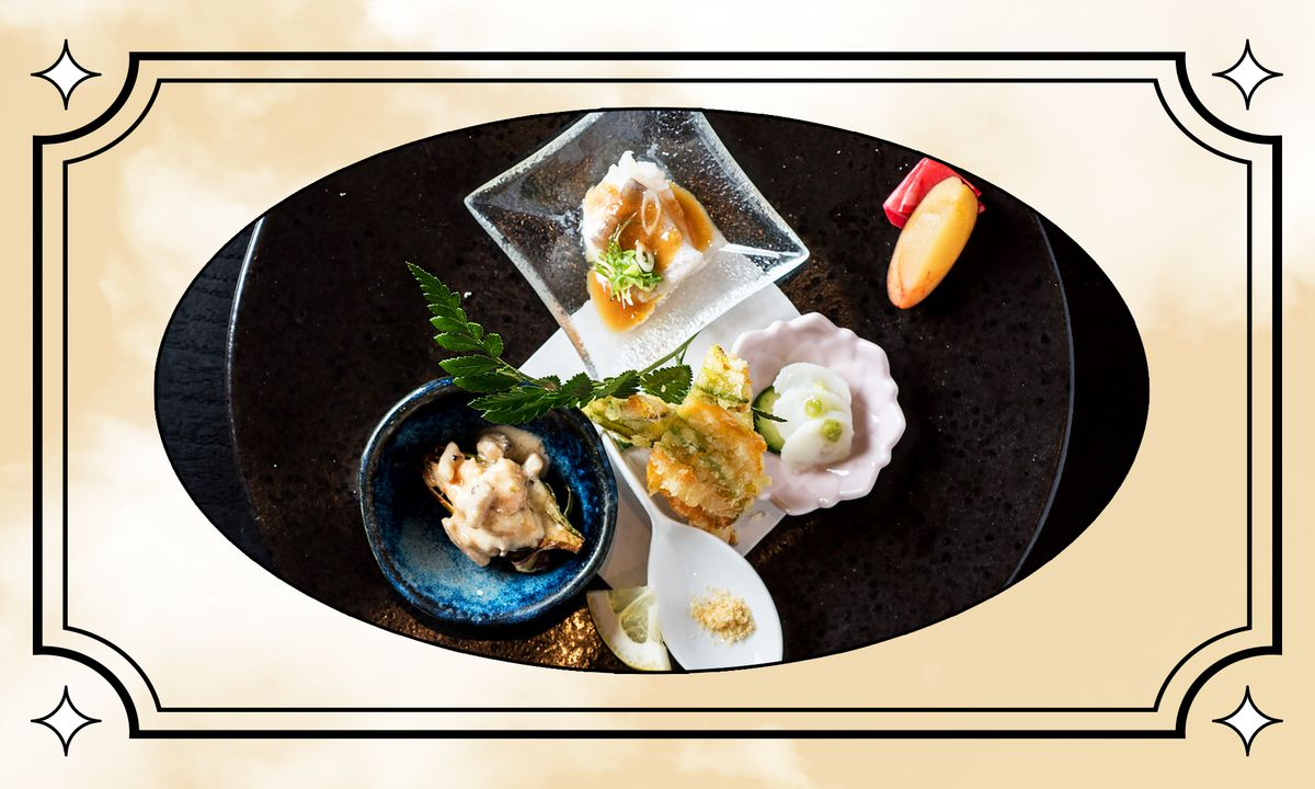 N/Naka photo illustration featuring little dishes filled with seafood.