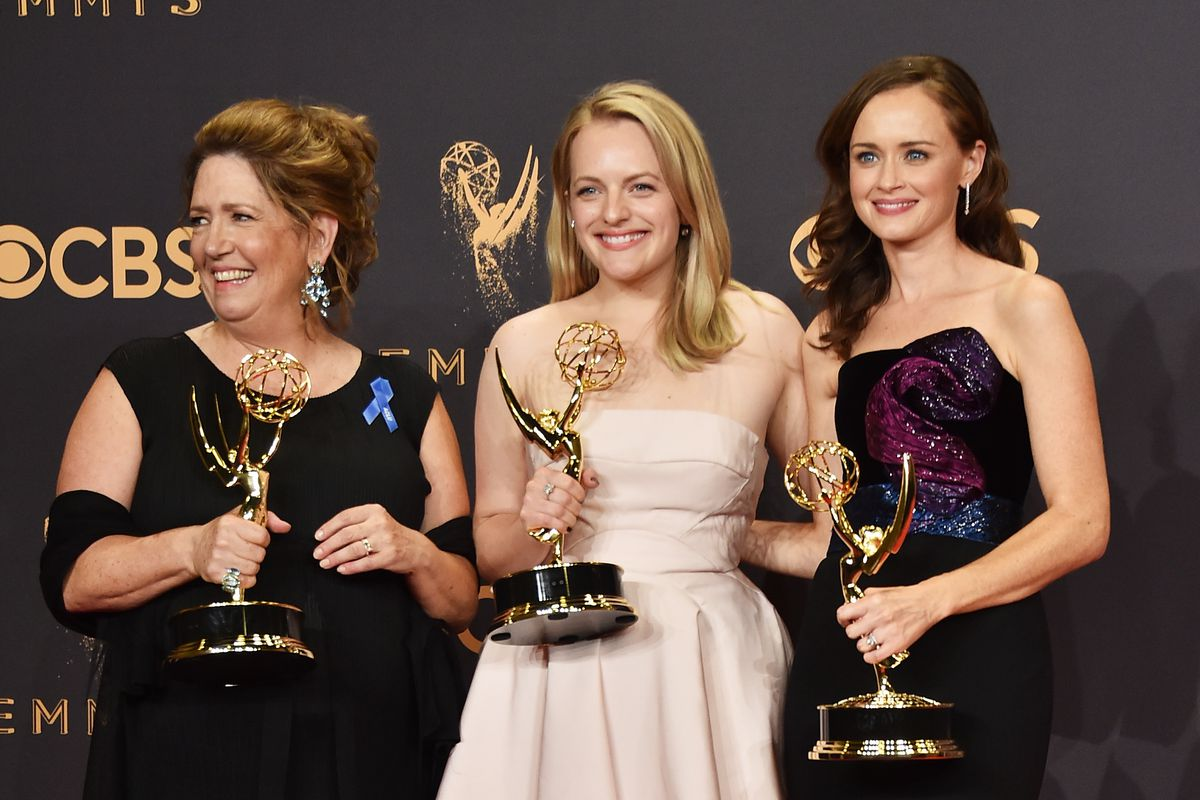 Ann Dowd, Elisabeth Moss, and Alexis Bledel at the Emmys