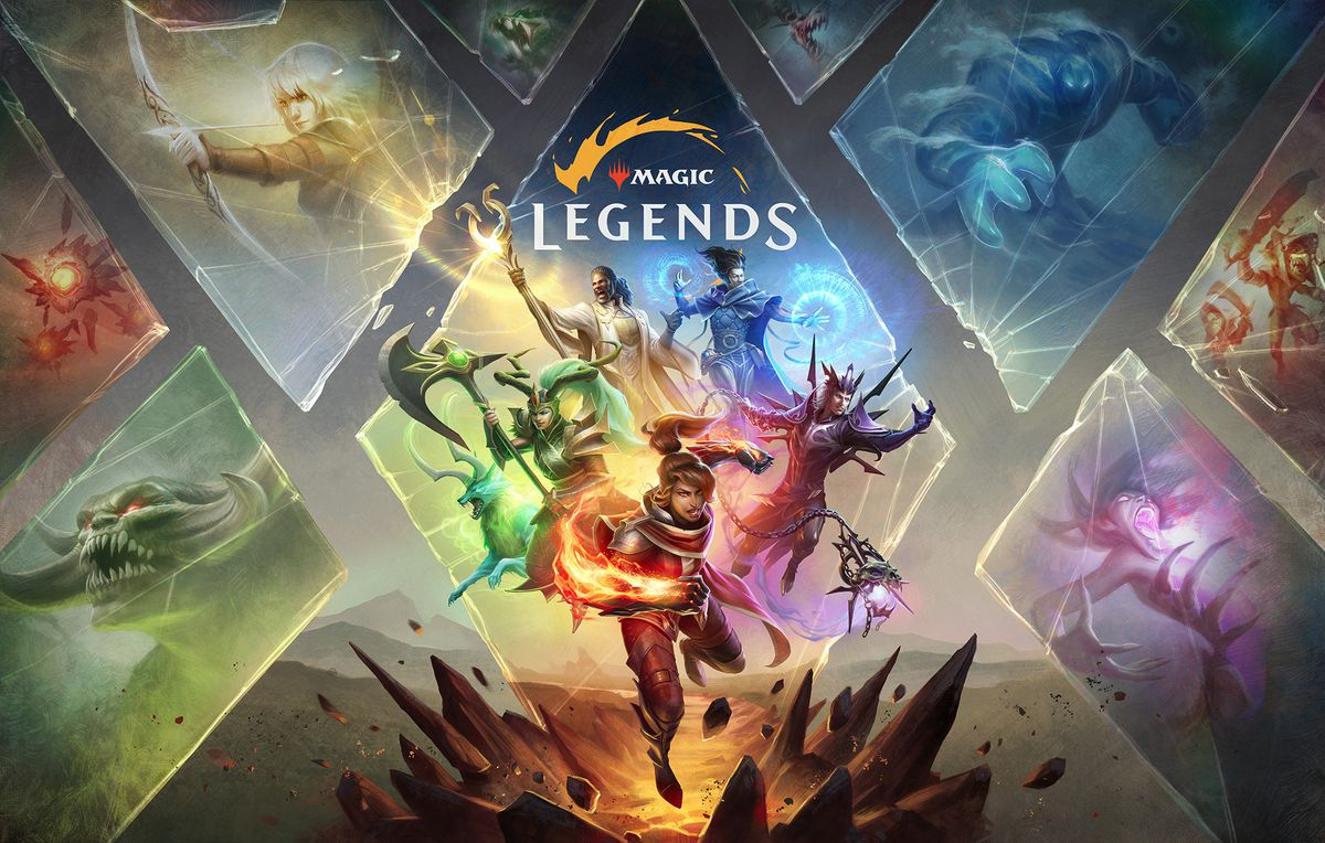 Key art for Magic: Legends shows the five playable character classes.