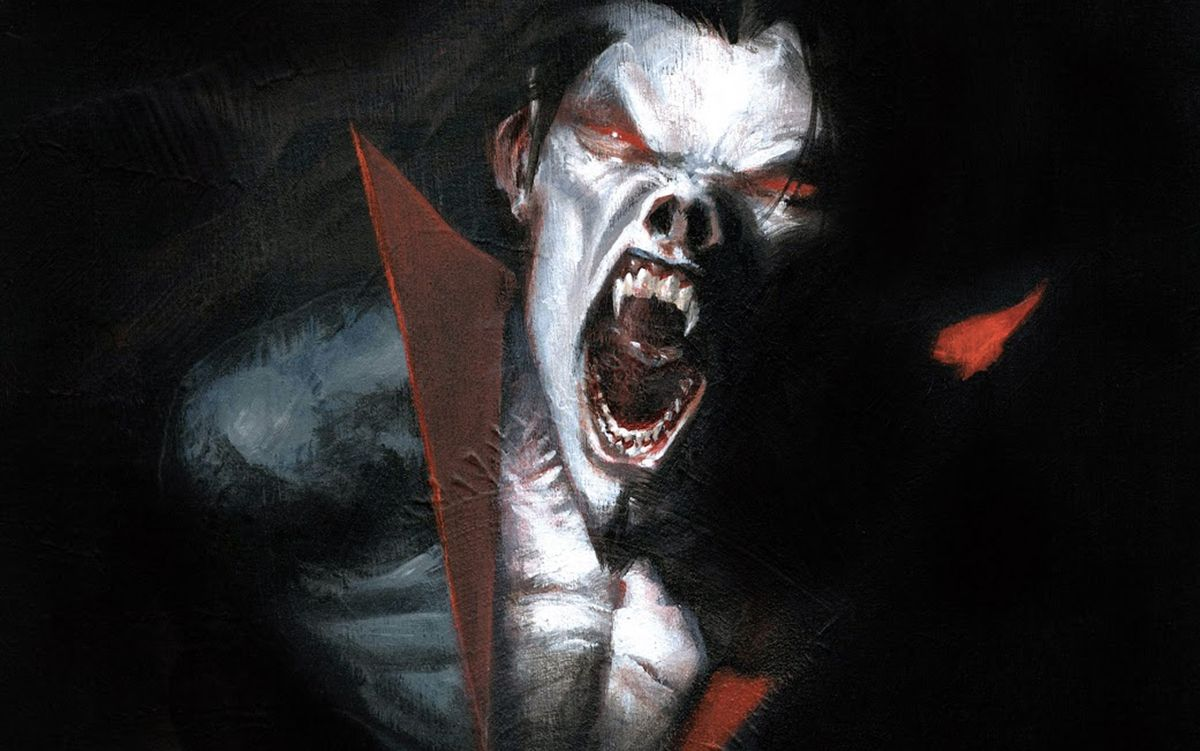 an illustration of morbius, a demonic vampiric creature with white skin, red eyes, and fangs, snarling