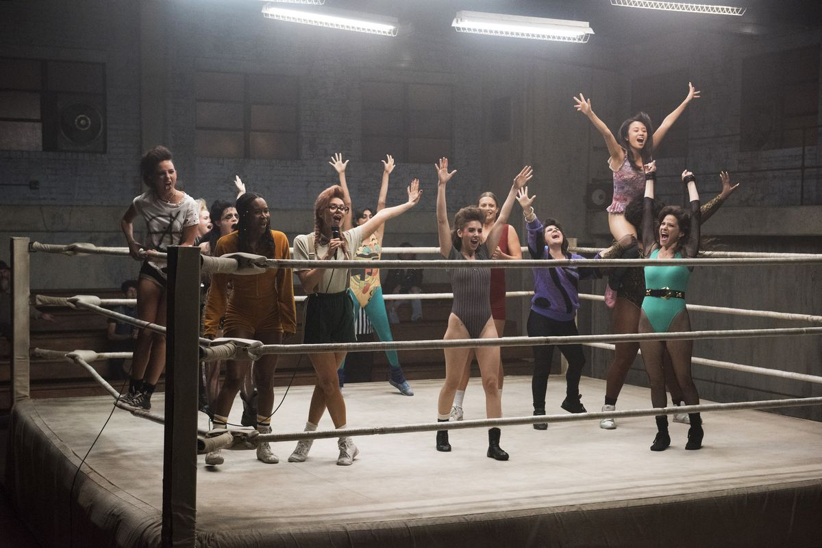 The cast of GLOW in the ring in season 1